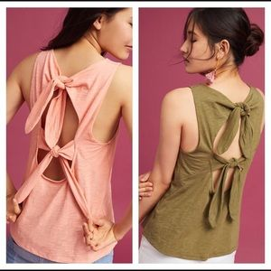 Anthropologie Bow Back Tank in Olive